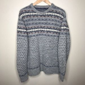 Vintage Nordic Knit Pullover Sweater